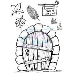 printable elf door fairy door template drawing google search garden ideas