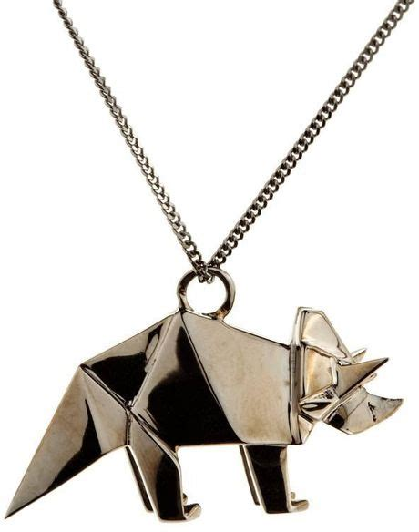 Origami Jewellery - origami jewellery necklace triceratops in silver lyst