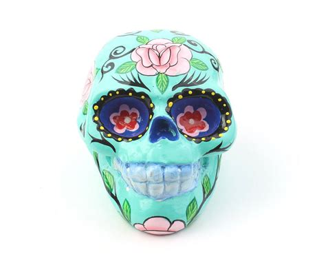 sugar skulls home decor turquoise sugar skull decor hand painted skull mexican