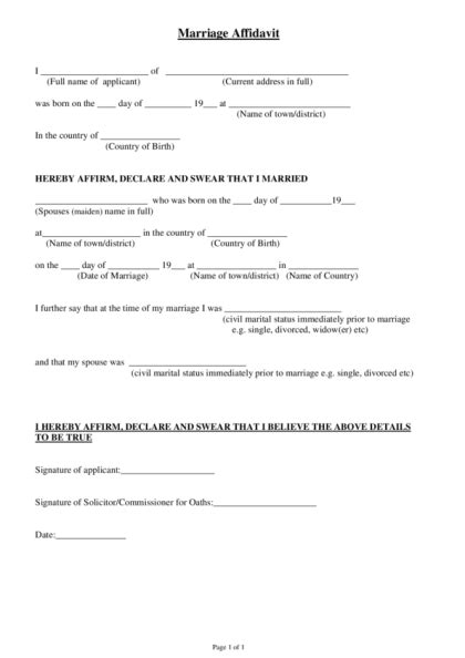 Marriage Certificate Notarized Letter Affidavit Of Marriage Legalforms Org