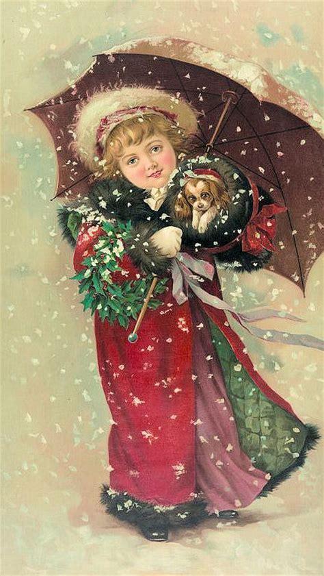 vintage clip art christmas girl  puppy