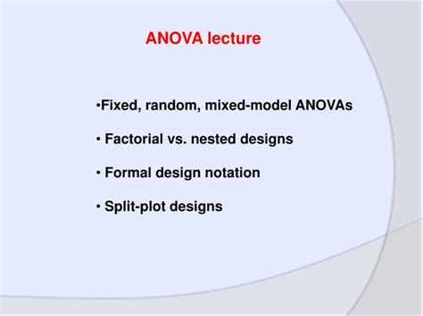 nested design definition statistics ppt fixed random mixed model anovas factorial vs
