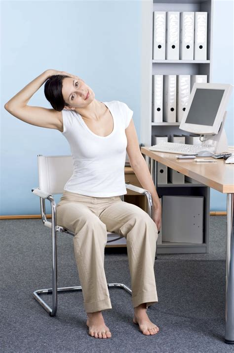 exercises to do at your desk with pictures side bending stretch perform the side bending stretch to