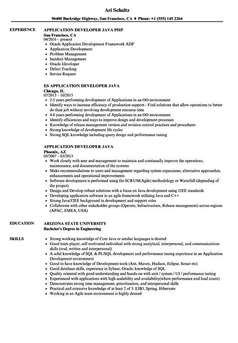 Application Developer Resume by Application Developer Java Resume Sles Velvet