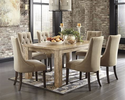 Mestler bisque rectangular dining room table amp 6 light brown uph side chairs d540 202 6 225