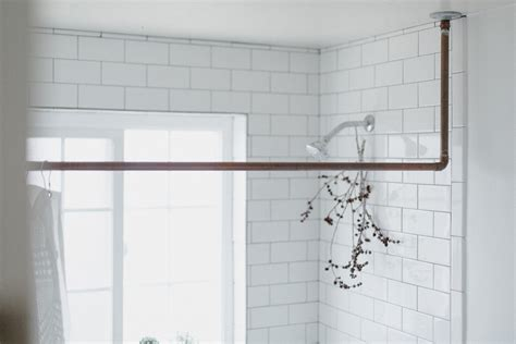 diy shower curtain rod diy copper pipe shower curtain rod abigail green
