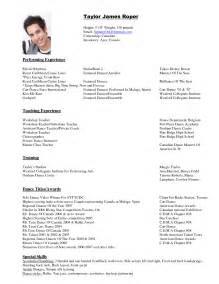 how to write a good dance resume - Dance Resume Templates