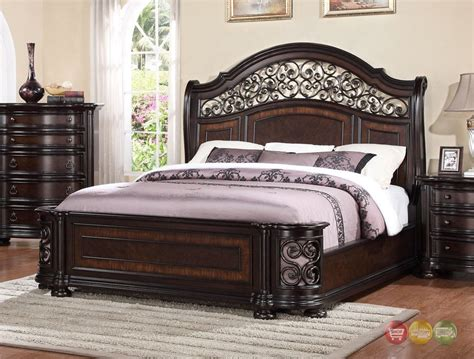 wrought iron bed king allison wrought iron and wood king sleigh bed in dark brown