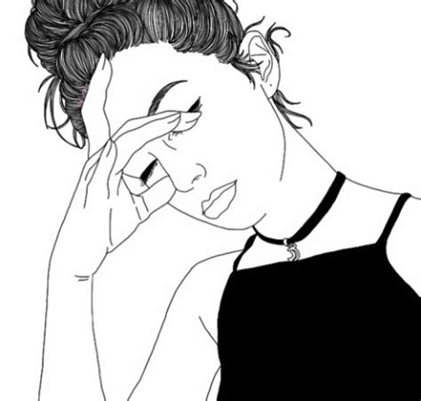 black  white draw girl pretty sad image