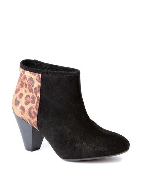 vienty black leopard print ankle boots designer footwear