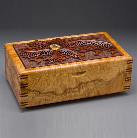 Handcrafted Wood Jewelry Boxes - made wood jewelry box quot ammonite quot by doolittle