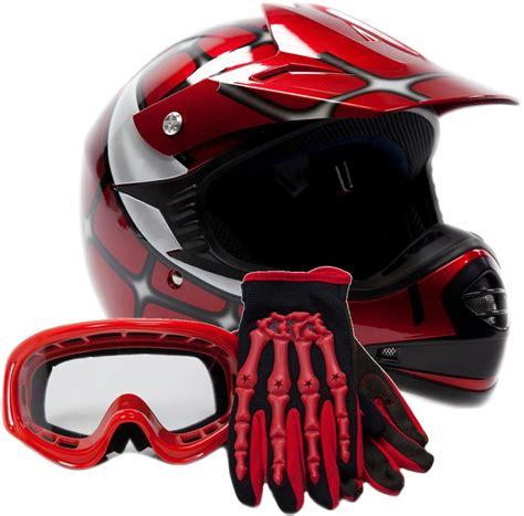 Kids Motocross Youth Atv Helmet Gloves And Goggles