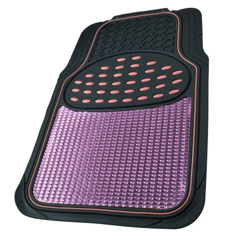 aluminum metallic trimmable rubber car floor mat pink black heavy duty pc bdk ebay