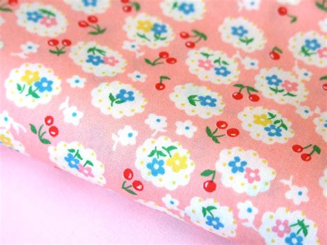 Vintage Patchwork Fabric - pink vintage cherry retro fabric for craft