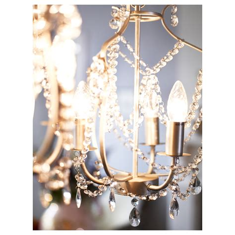 Ikea Lighting Chandeliers Kristaller Chandelier 3 Armed Silver Colour Glass Ikea
