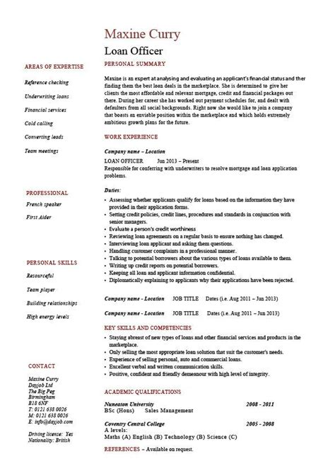 loan officer resume exle sle banks mortgage