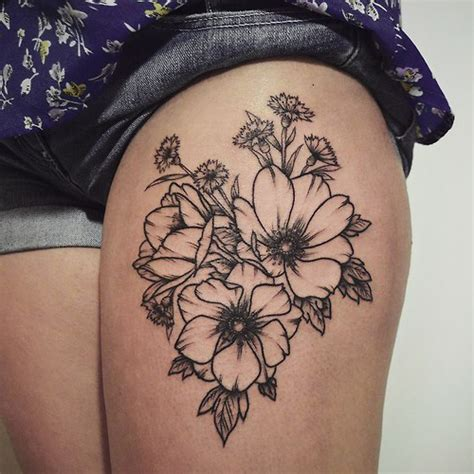 flower hip tattoos beautiful flower on hip best ideas gallery