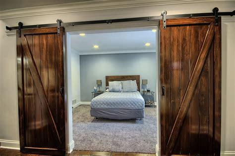 Master Bedroom Barn Door Rustic Master Bedroom With Doors Crown Molding In