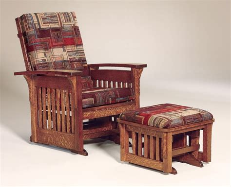 Mission Arm Chair Design Ideas Amish Mission Arts And Crafts Glider Chair Ottoman Stool Bow Arm Slat Solid Wood Ebay