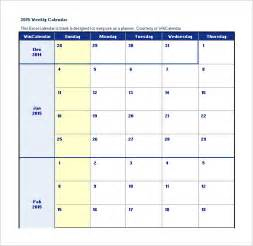 Weekly Schedule Calendar Template by Excel Calendar Schedule Template 15 Free Word Excel