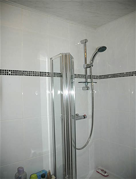 Shower Bath With Screen duham tiling bathroom with white ceramic tiles and black