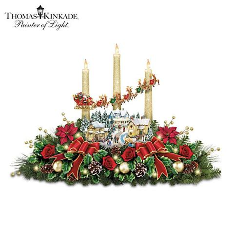 thomas kinkade lighted christmas centerpiece with narration