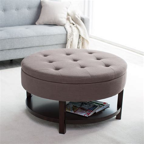 magazine bookshelf brown color fabric ottoman