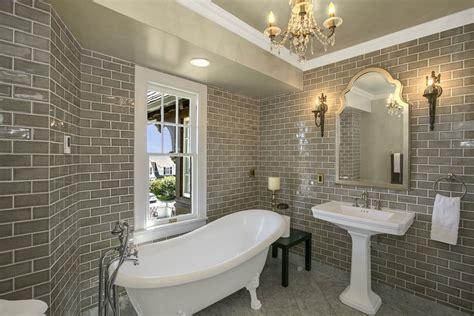 brick wall tiles bathroom bathrooms with glittering chandeliers