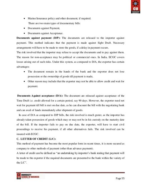 Offer Letter Export export import and documentation project report