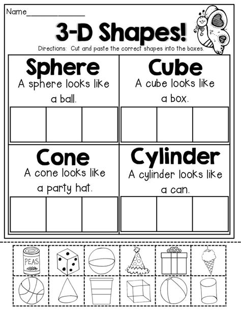 3d shape sorting worksheet 3 d shapes cut and paste ch elementary shapes math and kindergarten