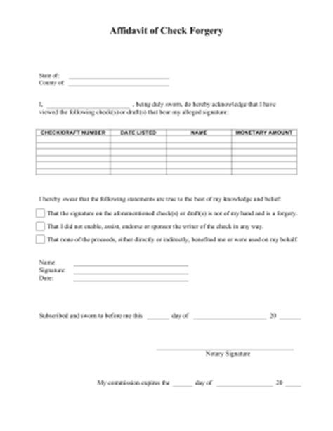 Printable Affidavit Of Check Forgery Legal Pleading Template Affidavit Of Forgery Template
