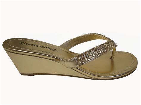 gold bling sandals gold metallic wedge rhinestone flip flops thongs sandals