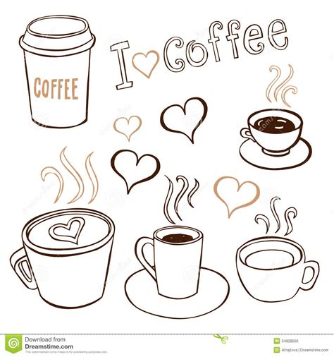 doodle coffee coffee doodles stock photo image 34928560