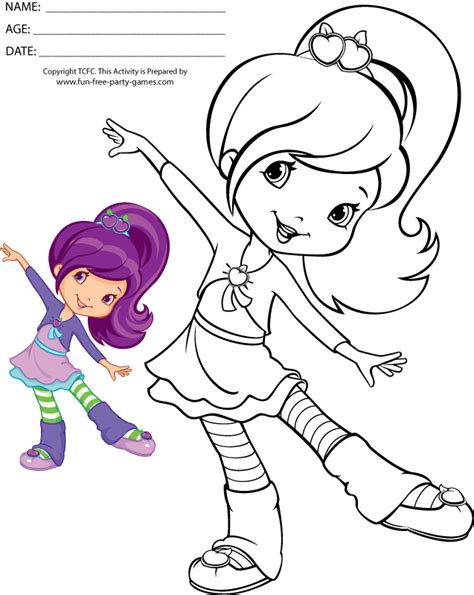 coloring pages strawberry shortcake plum pudding