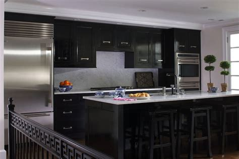 Glossy Black Kitchen Cabinets | glossy black kitchen cabinets transitional kitchen northworks architects