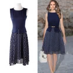 summer dress 2015 dark blue polka dot dresses garment
