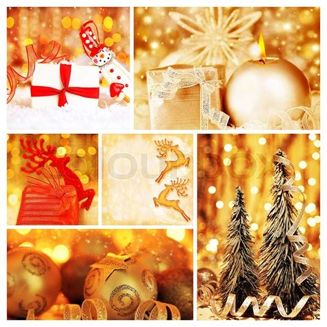 golden collage  christmas tree decorations diversity  gold ornaments winter holiday gifts
