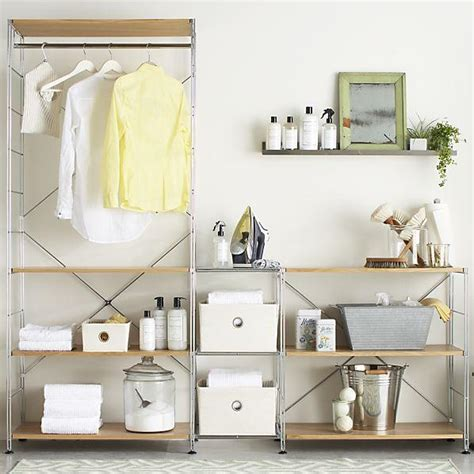 Bathroom Shelves Crate And Barrel Max Laundry Chrome Modular Shelving Set In Laundry Crate