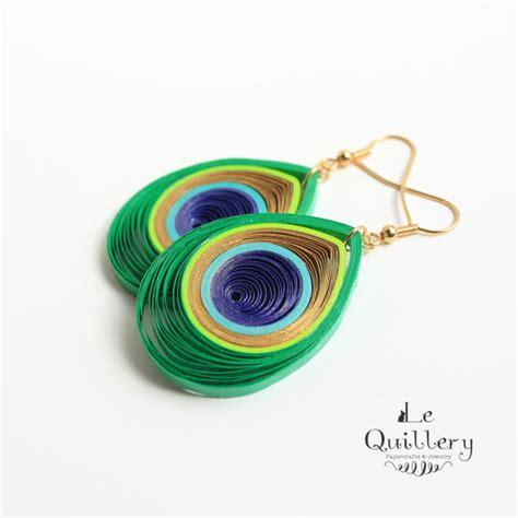 Handmade Paper Quilling Earrings - peacock feather filigree earrings handmade paper