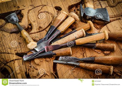 traditional woodwork tools of the woodcarver stock photo image 40743407