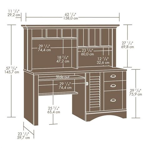 sauder harbor view computer desk and hutch computer desk with hutch in antiqued paint 401634