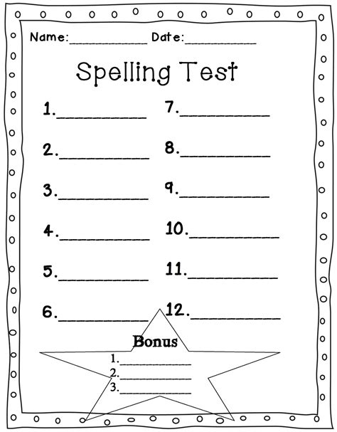spelling test template 10 words spelling test sheet images
