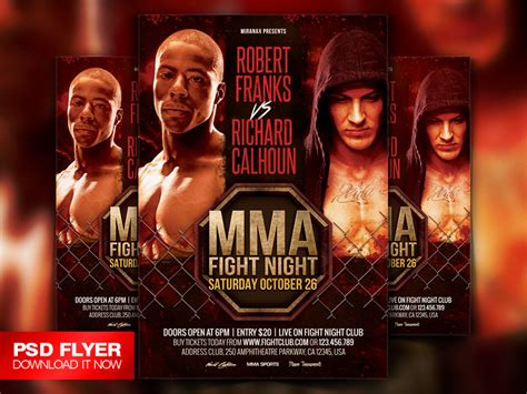ufc card template mma boxing fight showdown flyer template by