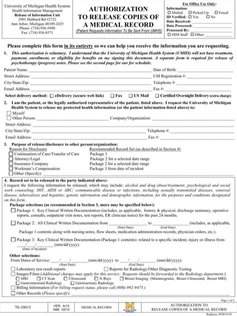 Michigan Records Free Michigan Records Release Form For Free Formtemplate