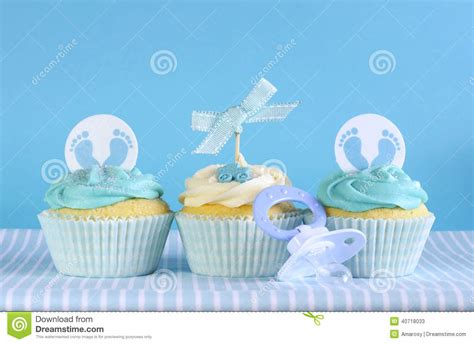 Cle1256 Piyama Baby Motif Boys New Born blue theme baby boy three cupcakes stock photo image 40718033