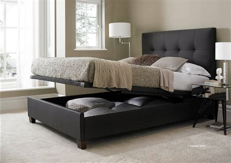 Brown Leather Ottoman Bed Kaydian Design Walkworth 4ft 6 Ottoman Bed Brown Leather