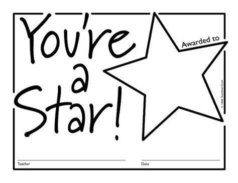 printable star awards free coloring pages of teacher certificates