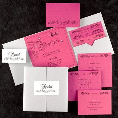 Paper Duvet Wedding Invitations by Paper Duvet Fuchsia Silver Shimmer With Floral