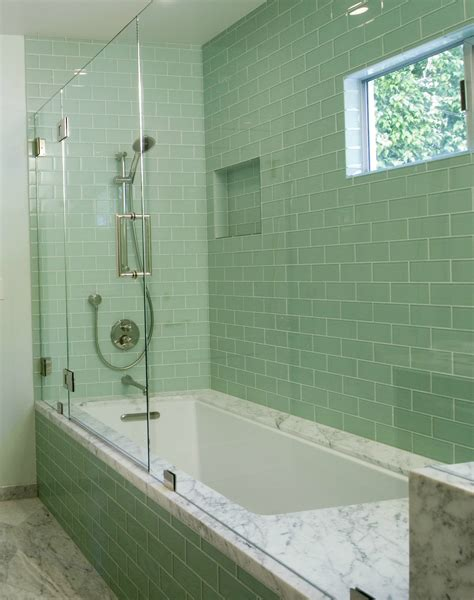 bathroom with subway tiles 20 amazing pictures of bathroom makeovers with glass tile