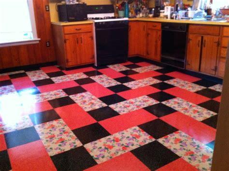 Kitchen Floor Tiles Vintage Vintage Kitchen Installed Flooring Vinyl Printed Vinyl